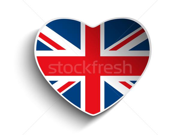 Vector - UK Flag Heart Paper Sticker Stock photo © gubh83