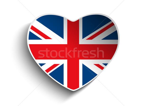Vetor bandeira coração papel adesivo assinar Foto stock © gubh83