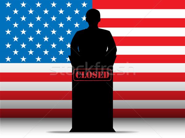 United States of America  Shutdown Closed Speech Tribune Silhoue Stock photo © gubh83
