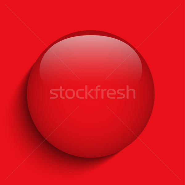 Rouge alerter verre cercle bouton vecteur Photo stock © gubh83