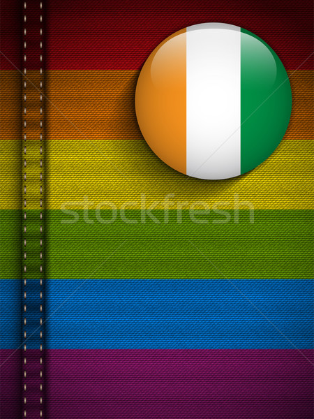 Gay Flag Button on Jeans Fabric Texture Ireland Stock photo © gubh83