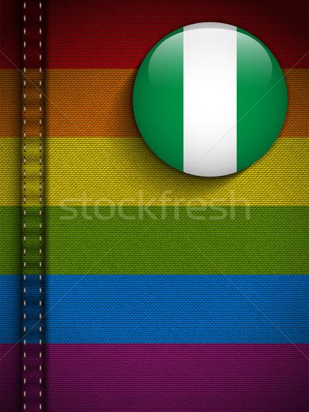 Gej banderą przycisk dżinsy tkaniny tekstury Zdjęcia stock © gubh83