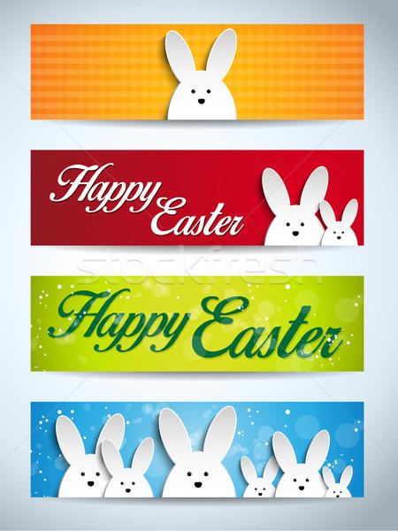 Stock fotó: Kellemes · húsvétot · nyúl · nyuszi · szett · bannerek · vektor