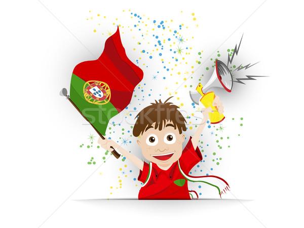 ストックフォト: ポルトガル · サッカー · ファン · フラグ · 漫画 · ベクトル