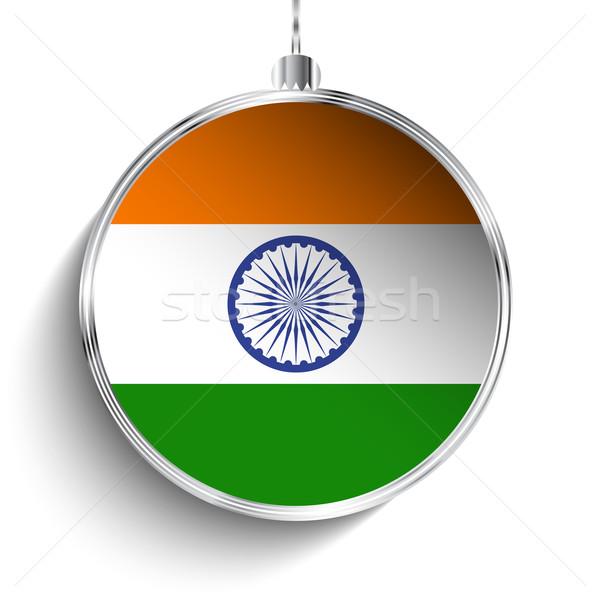 Vrolijk christmas zilver bal vlag Indië Stockfoto © gubh83