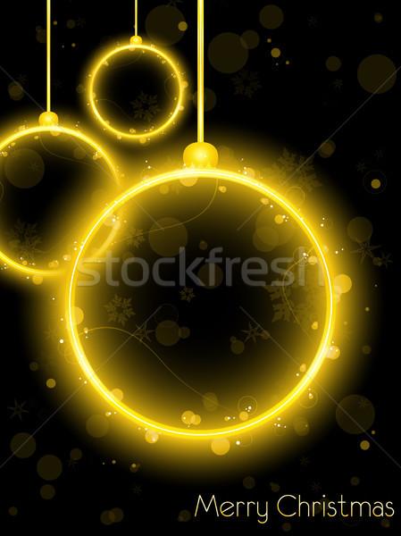 Dorado neón Navidad pelota negro vector Foto stock © gubh83