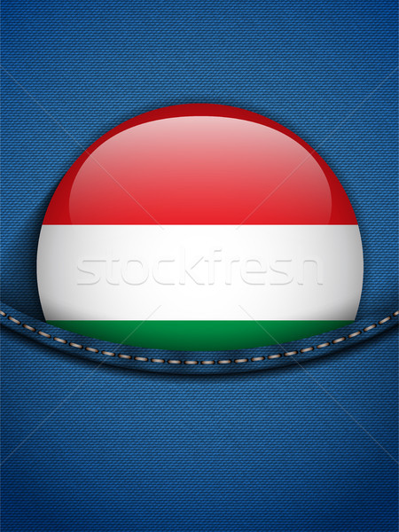 Węgry banderą przycisk dżinsy kieszeni wektora Zdjęcia stock © gubh83