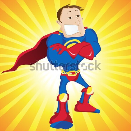 Black Super Woman Mother Cartoon with Yellow Background. Stock photo © gubh83