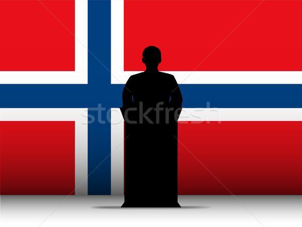 Norway Speech Tribune Silhouette with Flag Background Stock photo © gubh83