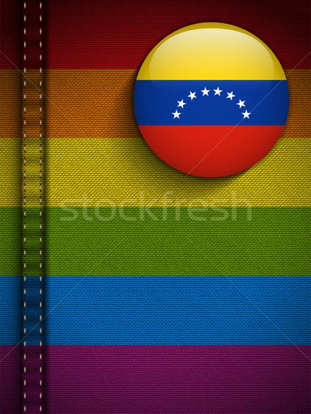 Homo vlag knop jeans weefsel textuur Stockfoto © gubh83