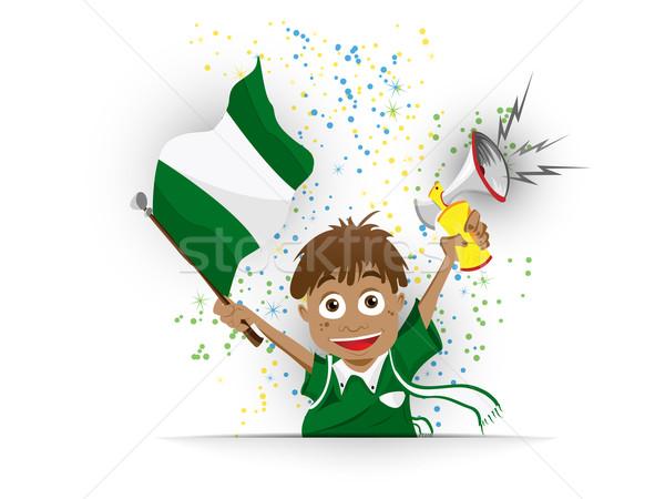 Nigéria futebol ventilador bandeira desenho animado vetor Foto stock © gubh83