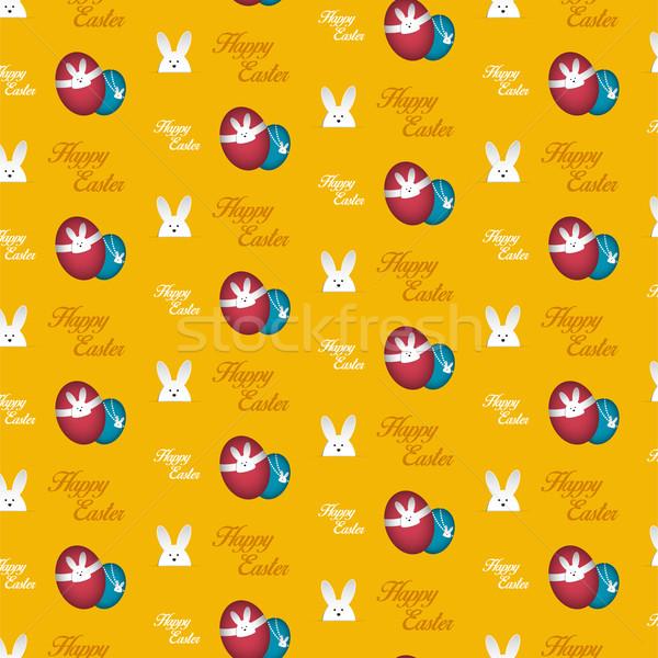 Vrolijk pasen konijn bunny oranje naadloos vector Stockfoto © gubh83