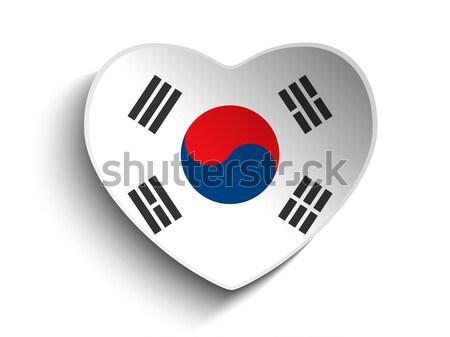 Южная Корея флаг сердце бумаги наклейку вектора Сток-фото © gubh83