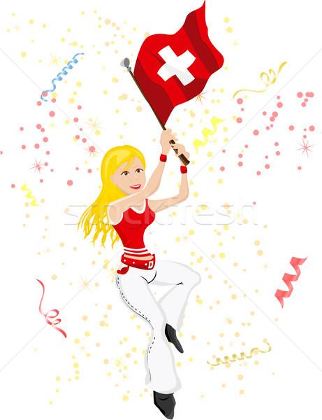 İsviçre futbol fan bayrak düzenlenebilir seksi Stok fotoğraf © gubh83