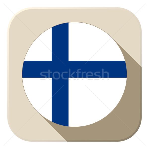 Finlândia bandeira botão ícone moderno vetor Foto stock © gubh83