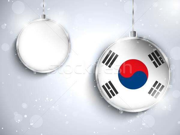 Vrolijk christmas zilver bal vlag Zuid-Korea Stockfoto © gubh83