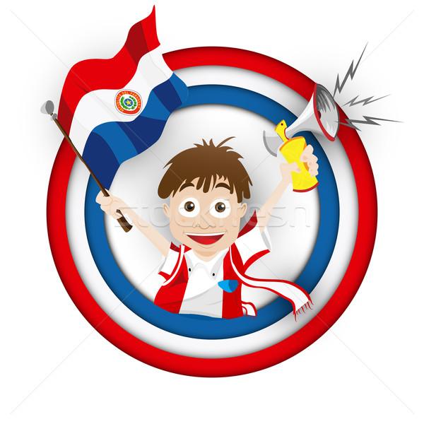 Paraguay fútbol ventilador bandera Cartoon vector Foto stock © gubh83