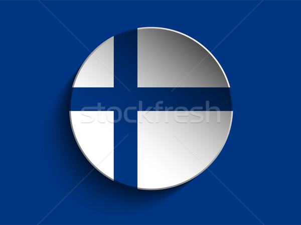 флаг бумаги круга тень кнопки Финляндия Сток-фото © gubh83