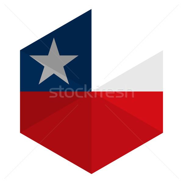 Şili bayrak altıgen ikon düğme dünya Stok fotoğraf © gubh83