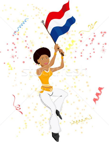 Stock photo: Black Girl Dutch Soccer Fan with flag