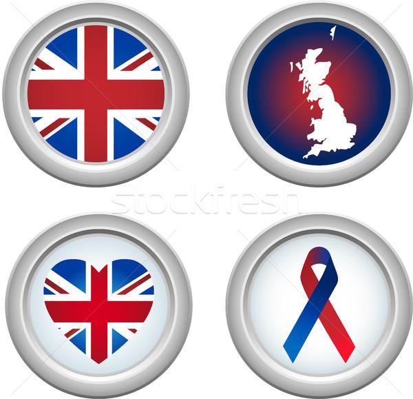 Regno Unito pulsanti nastro cuore mappa bandiera Foto d'archivio © gubh83