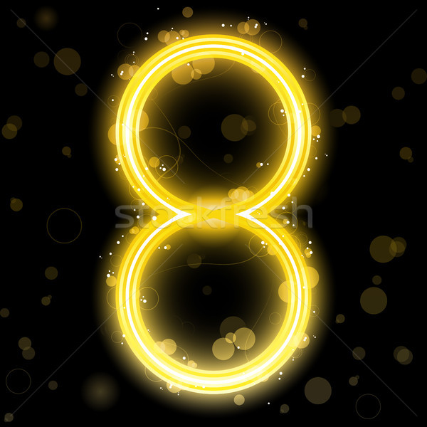 Number Golden Lights with Glitter and Sparkles Stock photo © gubh83