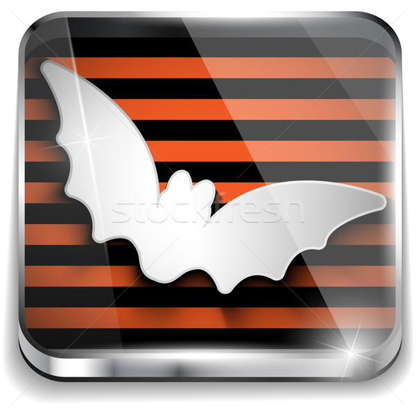 Halloween bat ikona przycisk aplikacja papieru Zdjęcia stock © gubh83