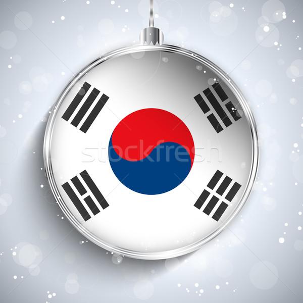 Merry Christmas Silver Ball with Flag South Korea Stock photo © gubh83