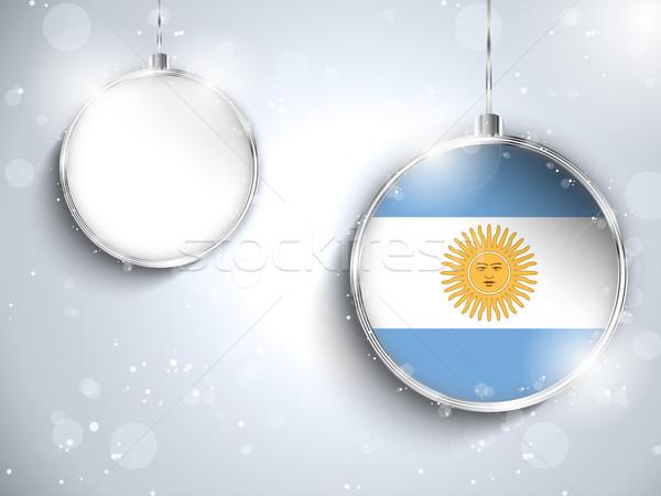 Vidám karácsony ezüst labda zászló Argentína Stock fotó © gubh83