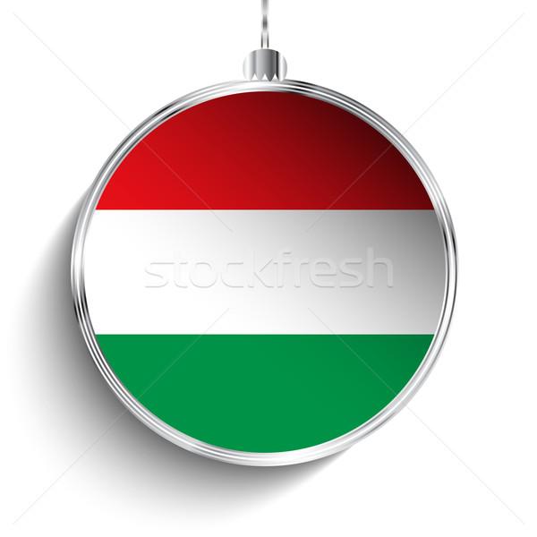 Alegre natal prata bola bandeira Hungria Foto stock © gubh83