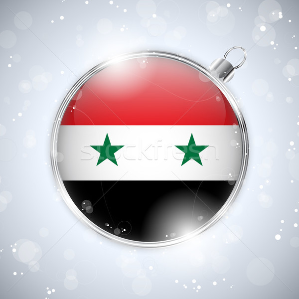 Merry Christmas Silver Ball with Flag Syrian Stock photo © gubh83