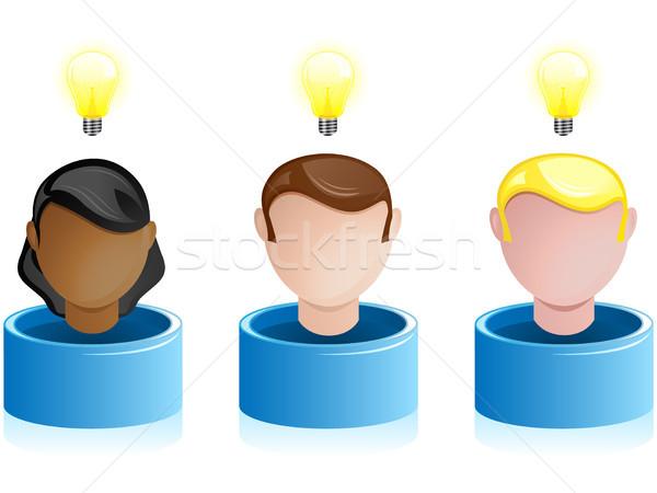 Yaratıcılık ağ crowdsourcing vektör kadın ışık Stok fotoğraf © gubh83