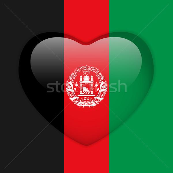 Афганистан флаг сердце кнопки вектора Сток-фото © gubh83