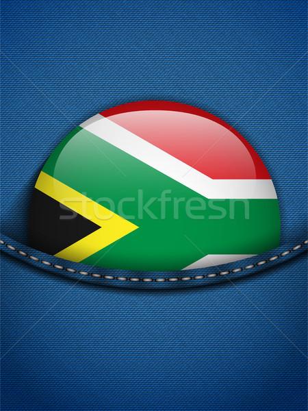 ЮАР флаг кнопки джинсов кармана вектора Сток-фото © gubh83