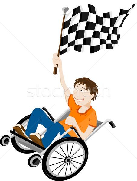 Młodych upośledzony człowiek wózek zwycięzca banderą Zdjęcia stock © gubh83