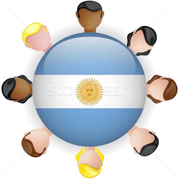 Argentyna banderą przycisk zespołowej ludzi grupy Zdjęcia stock © gubh83
