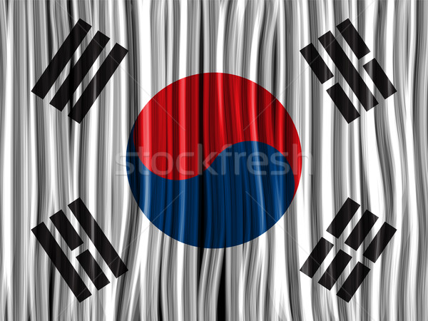Dél-Korea zászló hullám szövet textúra vektor Stock fotó © gubh83