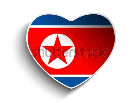 North Korea Flag Heart Paper Sticker Stock photo © gubh83