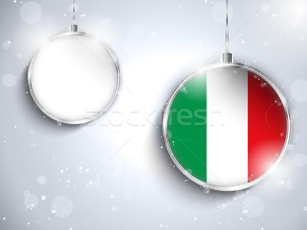 Foto stock: Alegre · Navidad · plata · pelota · bandera · Italia