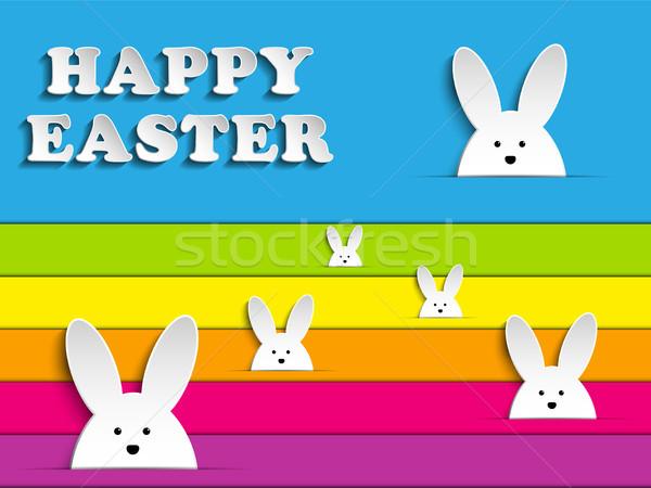 Wesołych Świąt królik bunny tęczy wektora papieru Zdjęcia stock © gubh83