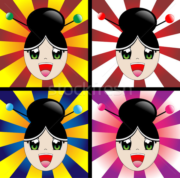 Japon kız manga stil gülme kadın Stok fotoğraf © gubh83