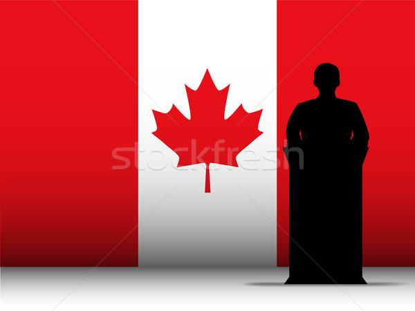 Canada Speech Tribune Silhouette with Flag Background Stock photo © gubh83