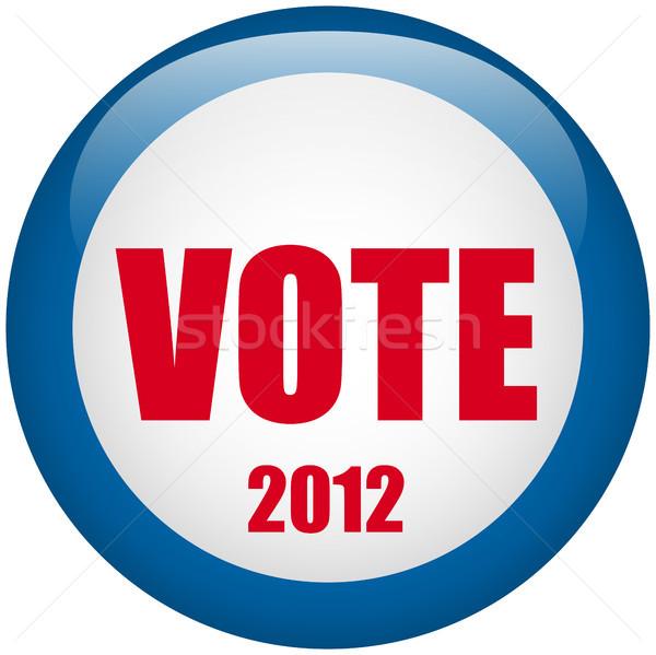 Foto stock: Estados · Unidos · eleição · votar · botão · vetor · azul