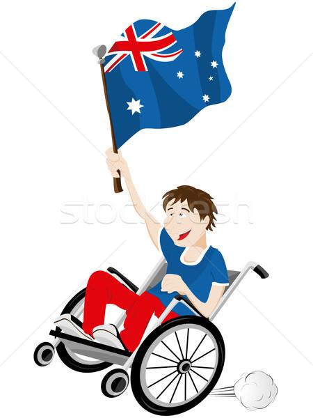 Australia Sport Fan Supporter on Wheelchair with Flag Stock photo © gubh83