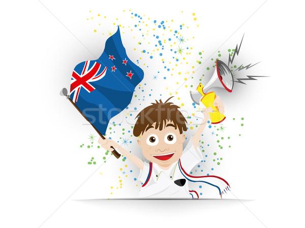 Új-Zéland futball ventillátor zászló rajz vektor Stock fotó © gubh83