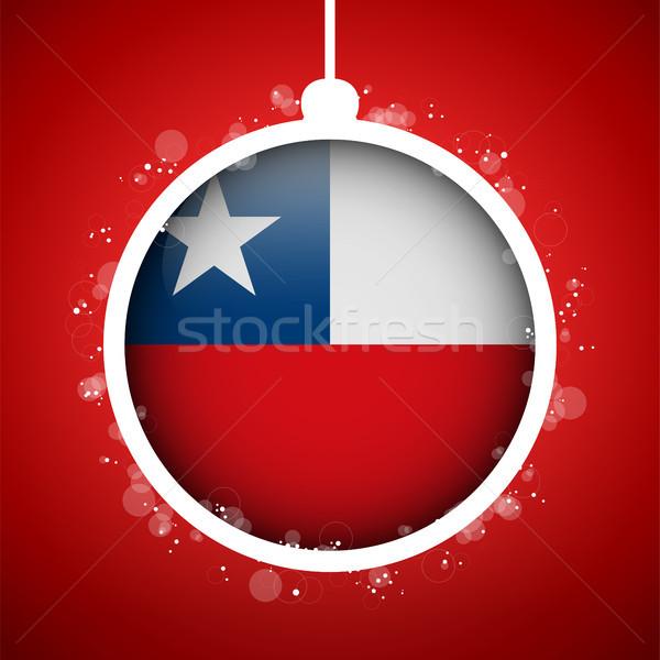 Allegro Natale rosso palla bandiera Chile Foto d'archivio © gubh83