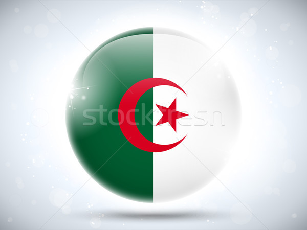 Stockfoto: Algerije · vlag · glanzend · knop · vector · glas