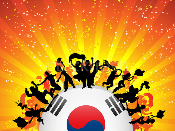 Corea del Sur deporte ventilador multitud bandera vector Foto stock © gubh83
