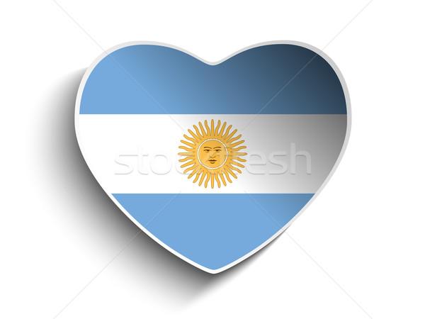 Argentína zászló szív papír matrica vektor Stock fotó © gubh83
