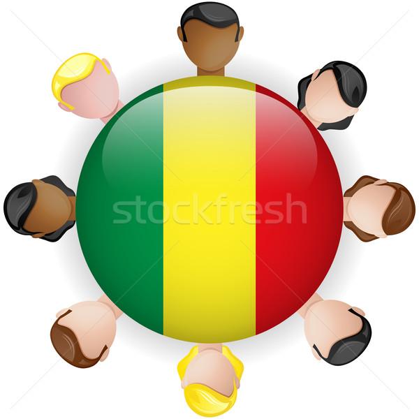 Mali banderą przycisk zespołowej ludzi grupy Zdjęcia stock © gubh83